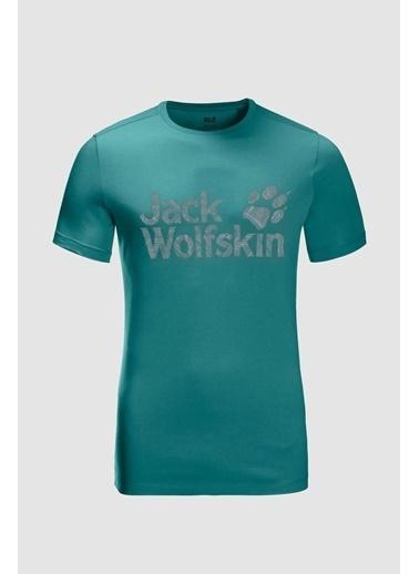 Jack Wolfskin Wolf Logo Erkek Outdoor Tişört Petrol Petrol